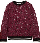 Valentino Jersey-trimmed Cotton-blend Guipure Lace Sweatshirt - Burgundy