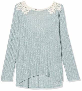 Jolt Women's Rib Long Sleep Top with Back Crochet Detail