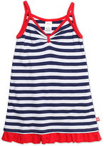 Zutano Navy & White Stripe Ruffle-Hem A-Line Dress - Toddler