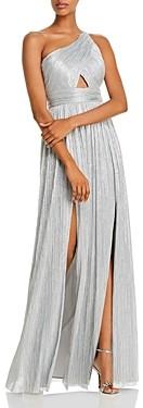 Aidan Mattox One-Shoulder Metallic Pleated Gown