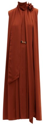 Victoria Beckham Pussy-bow Pleated Silk-crepe Midi Dress - Brown