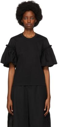 Noir Kei Ninomiya Black Cotton Gathered Sleeve T-Shirt