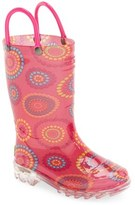 Western Chief Toddler Girl's 'Carnival Dots' Light-Up Rain Boot