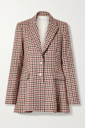 J.W.Anderson Checked Wool Peplum Blazer - Red