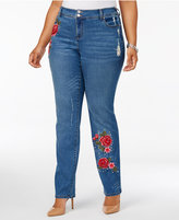 INC International Concepts Plus Size Tummy Control Embroidered Studded Jeans, Created for Macy's
