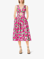 Michael Kors Peony-Print Cotton-Poplin Tie-Front Dress