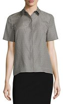 Lafayette 148 New York Maisie Striped Short-Sleeve Blouse, Black/Multi