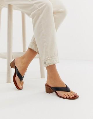 Asos Design DESIGN Timeless leather thong sandals in black