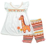 Young Hearts Toddler Girls' Jersey Top with Giraffe and Pattern Short - White
