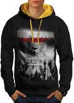 World Is A Jungle Big City Lion Men NEW XL Contrast Hoodie | Wellcoda