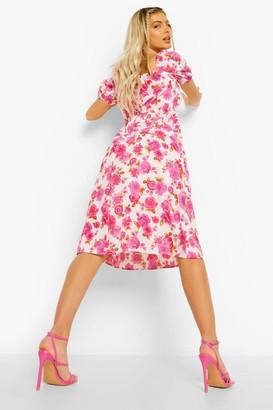 boohoo Floral Puff Sleeve Tie Front Midi Dress