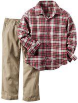 Carter's Toddler Boy Plaid Flannel Button-Front Shirt & Pants Set