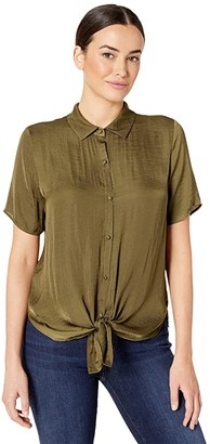 Vince Camuto Short Sleeve Tie Front Button Down Rumple Blouse (Green Oasis) Women's Clothing