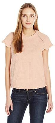 J.o.a. Women's Short Sleeve Fringe Top X
