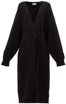 Raey Long Shawl Belted Cashmere Cardigan - Womens - Black