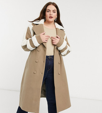 Fashion Union Plus trench coat with shearling details