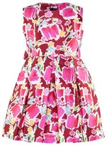 Oscar de la Renta Red and Pink Blossom Sketch Mikado ress