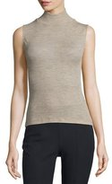 Alexander Wang Sheer Wool Ribbed Turtleneck Top, Camel