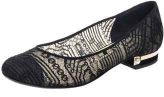Chanel Black Lace CC Cap Toe Ballet Flats Size 40.5