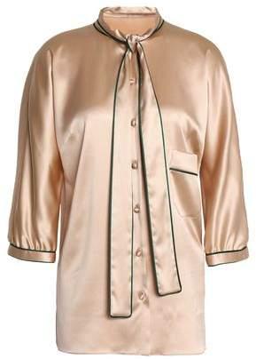 Dolce & Gabbana Draped Silk-Blend Satin Shirt