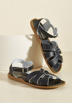 Salt Water Leather Sandal in Black in 4 UK