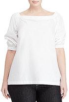 Lauren Ralph Lauren Plus Cotton Off the Shoulder Top