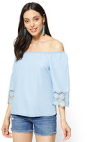 New York & Co. Soho Soft Shirt - Off-The-Shoulder Blouse - Light Indigo