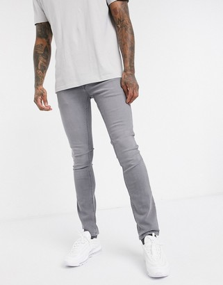 Jack and Jones Intelligence skinny fit super stretch jeans in light gray