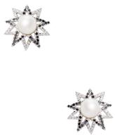 Artisan 18K White Gold, 0.85 Total Ct. Diamond & Pearl Star Stud Earrings