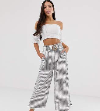 New Look Tall stripe linen crop pants in cream pattern