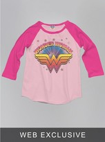 Junk Food Clothing Kids Girls Wonder Woman Raglan-pa/fl-s