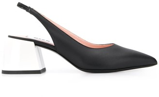 MSGM bi-colour slingback mid-heel pumps
