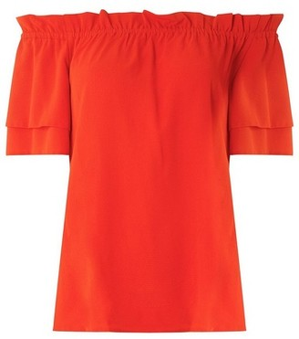 Dorothy Perkins Womens Red Frill Sleeve Bardot Top, Red