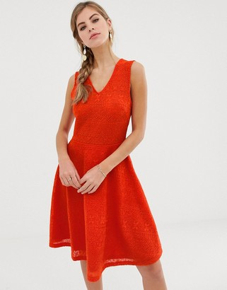 Y.A.S Caia sleeveless skater dress-Red