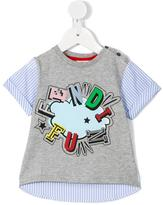 Fendi contrast front pinstripe T-shirt - kids - Cotton - 12 mth