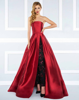 Mac Duggal Black White Red - 62899/4592 Strapless Ballgown with Pants