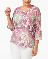 Alfred Dunner Plus Size Palm Desert Collection Embellished Printed Top