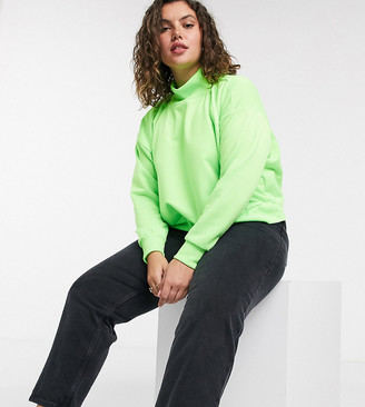 Simply Be cropped sweatshirt in neon green