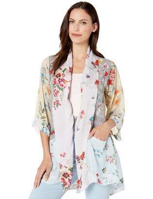 Johnny Was Women's Printed Kimono with Embroidery
