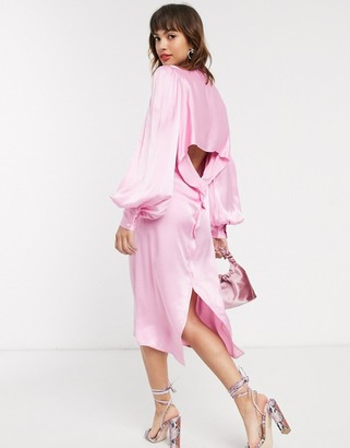 Vestire palm beach shirt dress with open back-Pink