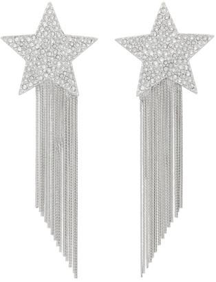 Saint Laurent Silver Star Fringed Earrings