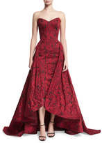 Zac Posen Strapless Jacquard Midi Gown w/Overskirt, Red