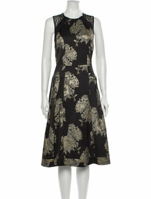 Carmen Marc Valvo Crew Neck Midi Length Dress Gold
