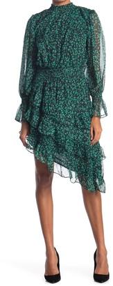 Do & Be Printed Tiered Ruffle Long Sleeve Dress