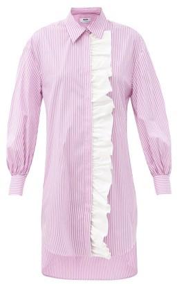 MSGM Ruffled Striped Cotton-blend Shirt Dress - Pink Stripe