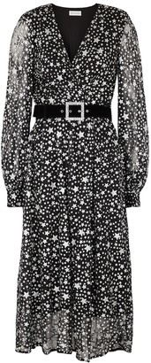 Rebecca Vallance Notte star-print belted lace midi dress