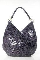 Tahari Purple Snakeskin Print Single Strap Gold Hardware Shoulder Handbag