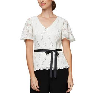 Alex Evenings Women's Petite Lace Blouse Shirt (Missy and Plus)