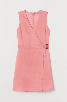 H&M Lyocell-blend Wrapover Dress - Pink