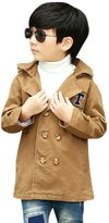 uxcell® Boys Letter Stitching Detail Hooded Trench Coat